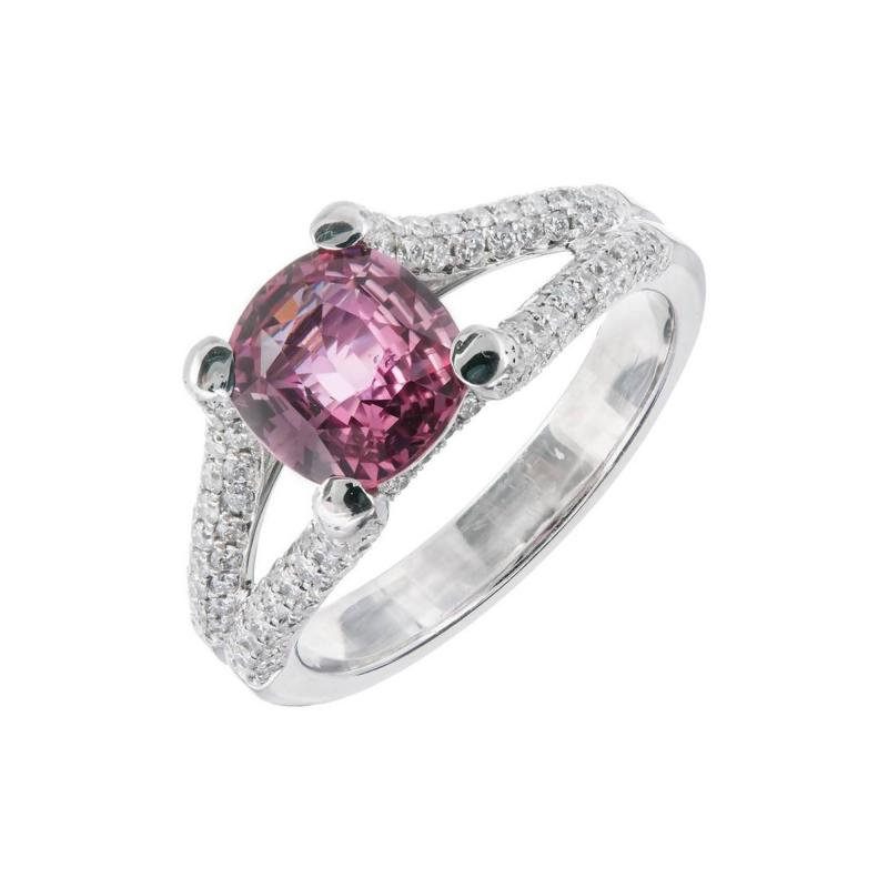 Peter Suchy Peter Suchy GIA Certified Padparadscha Sapphire Diamond Platinum Engagement Ring