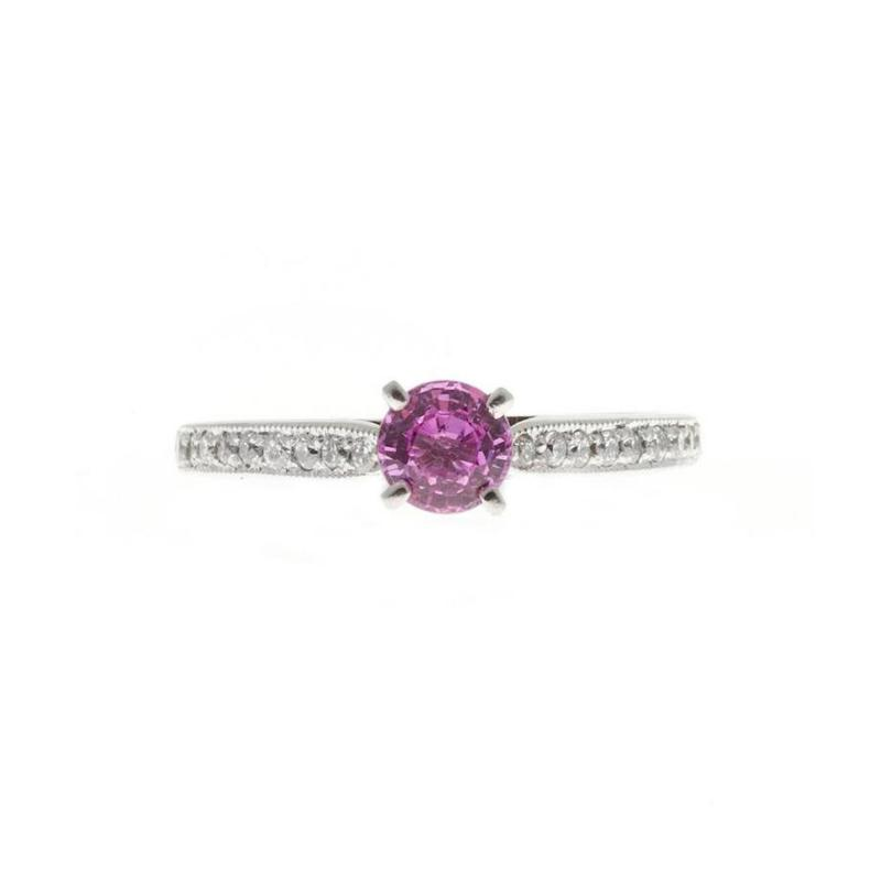 Peter Suchy Peter Suchy GIA Certified Pink Sapphire Diamond Platinum Engagement Ring