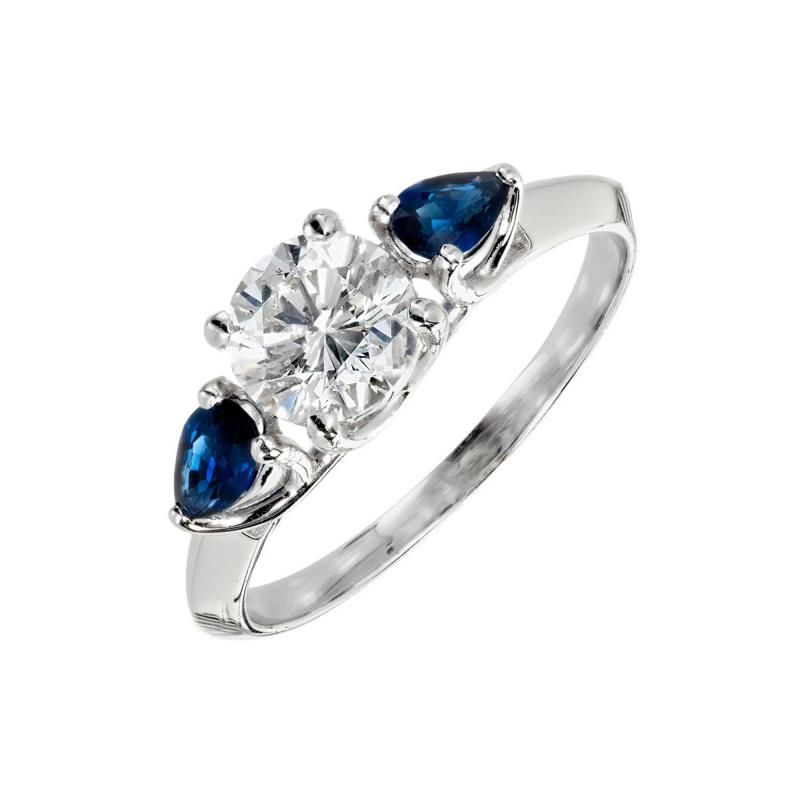 Peter Suchy Peter Suchy GIA Certified Round Diamond Pear Sapphire Platinum Engagement Ring