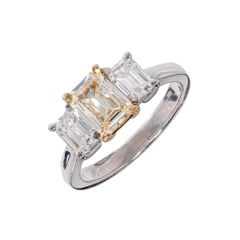 Peter Suchy Peter Suchy Yellow White Diamond Gold Platinum Three Stone Engagement Ring