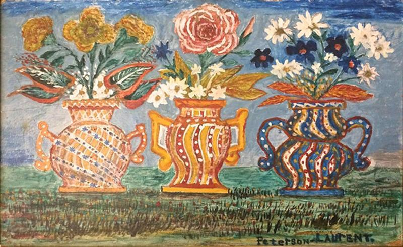 Peterson Laurent Still Life Three Vases with Flowers Haitian Folk Art