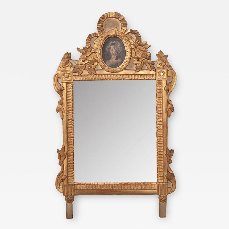 Petite Italian 19th Century Gold Gilt and Painted Mirror