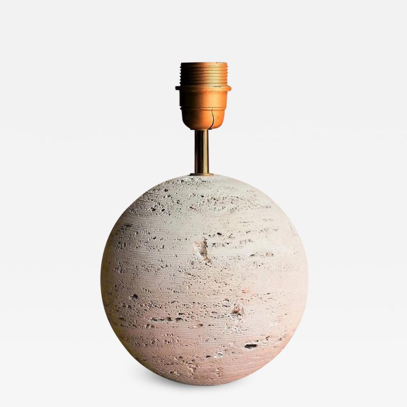 Petite Minimalist Raw Travertine Table Lamp France 1970s