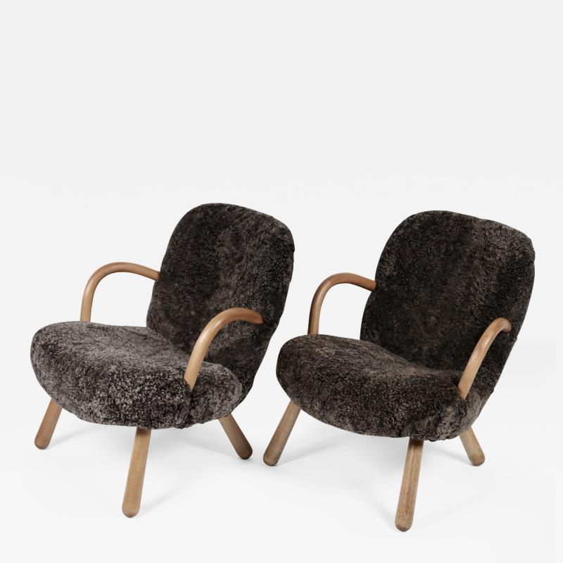 Philip Arctander Philip Arctander Attributed Clam Chairs Sweden 1950s