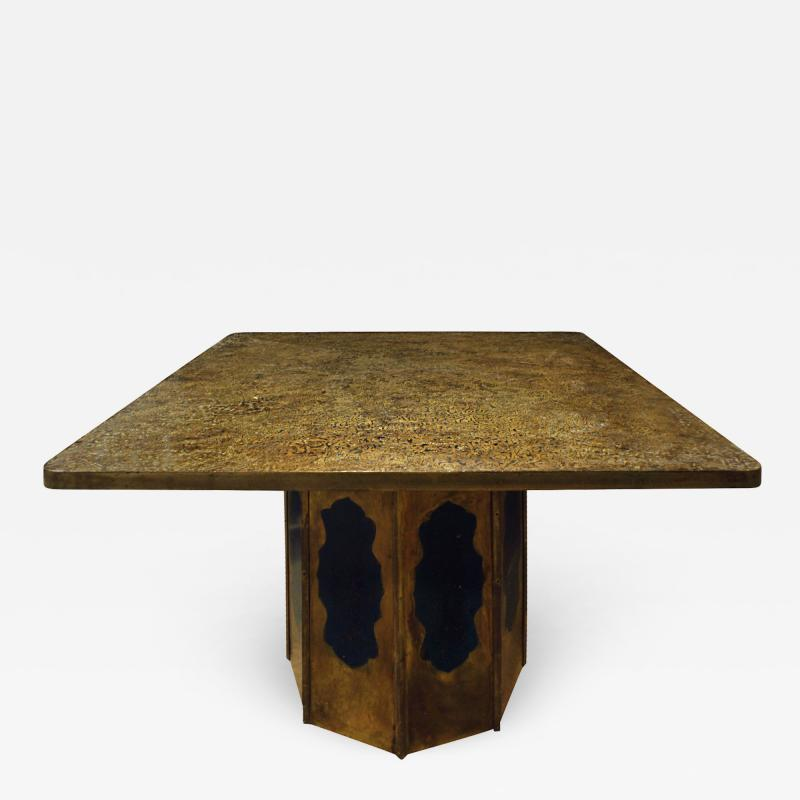 Philip Kelvin LaVerne Philip Kelvin LaVerne Square Etruscan Round Game Table 1970s
