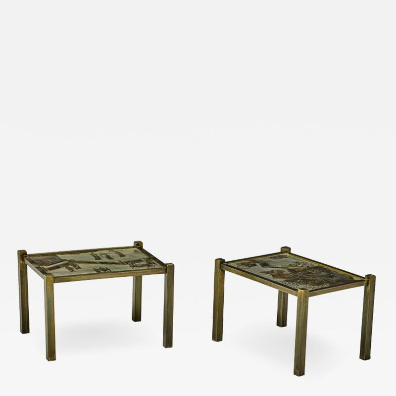 Philip and Kelvin LaVerne Pair of acid etched and patinated bronze Tao side tables