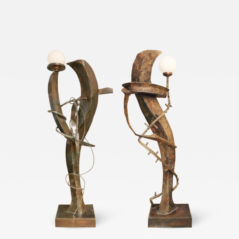 Philip and Kelvin LaVerne Philip Kelvin LaVerne Illuminated Bronze Sculpture Floor Lamps ca 1970