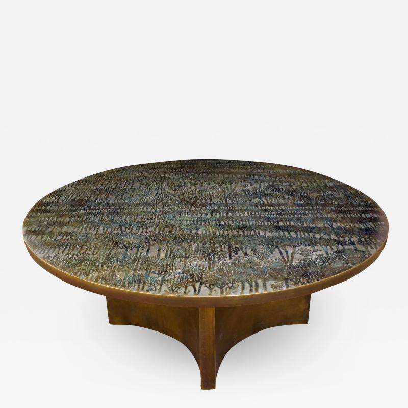 Philip and Kelvin LaVerne Philip Kelvin LaVerne Rare Eternal Forest Coffee Table 1960s Signed