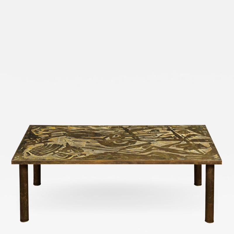 Philip and Kelvin LaVerne Philip Kelvin LaVerne Unique Abstract Design Coffee Table 1966 Signed