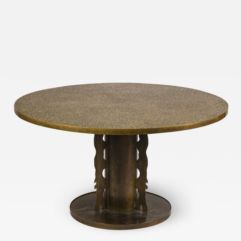 Philip and Kelvin LaVerne Philip Kelvin Laverne Etruscan Game Table in Acid Etched Bronze 1960s