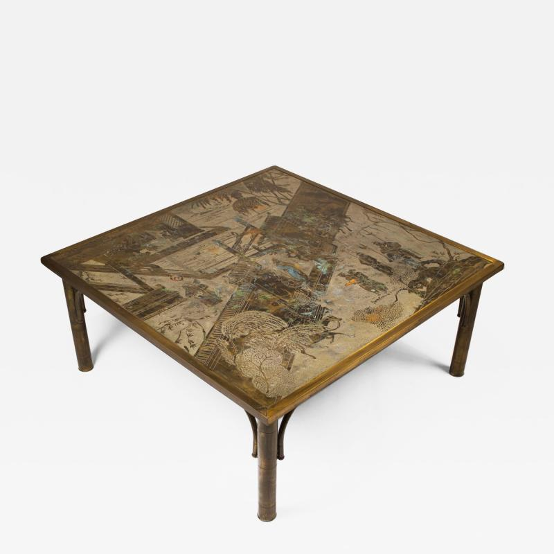 Philip and Kelvin LaVerne Philip and Kelvin LaVerne Patinated Brass and Pewter Chan Cocktail Table