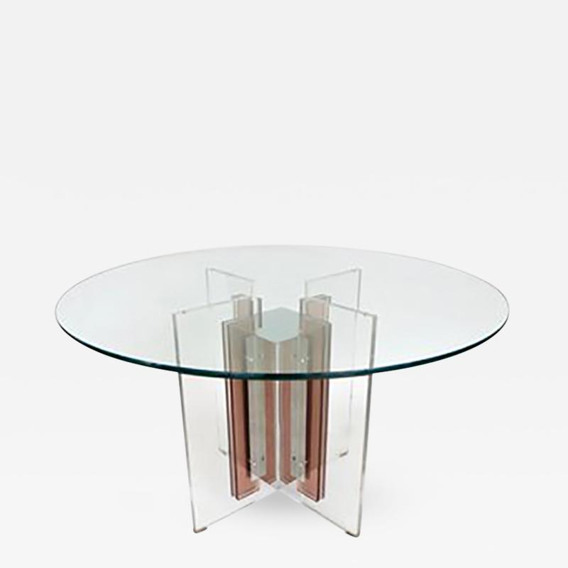 Philippe Jean French Illuminated Stainless Steel and Lucite Dining Table Signed P Jean