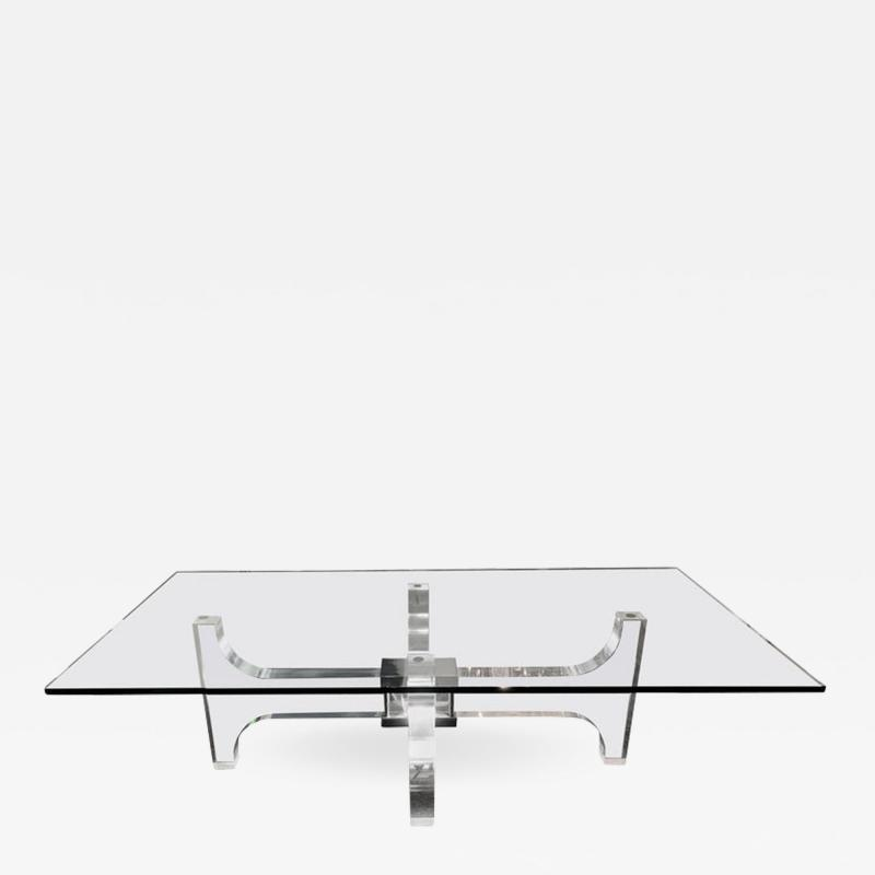 Philippe Jean Lightning Lucite and Metal Coffee Table by Philippe Jean France 1970s