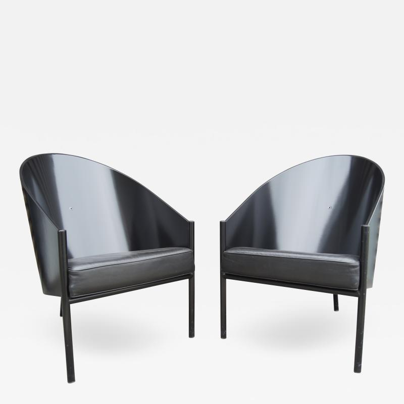 Philippe Starck Black Lacquer and Leather Pratfall Chair by Philippe Starck