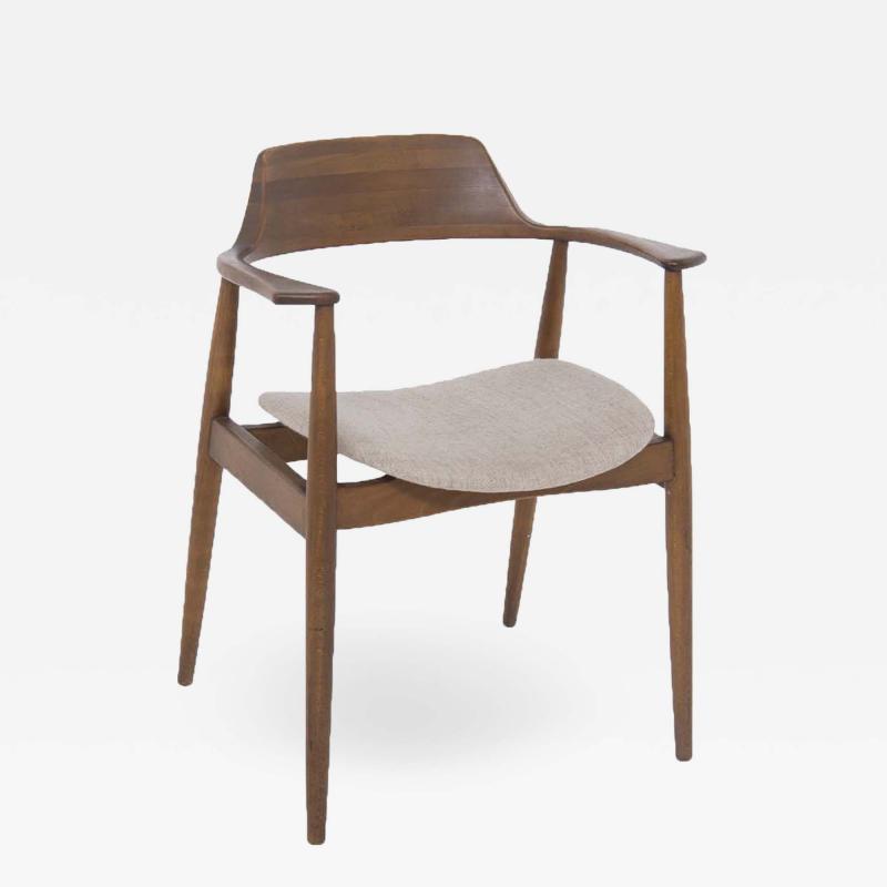 Phillip Lloyd Powell Mid Century American Armchair in Wood and Fabric attr to Phillip Lloyd Powell