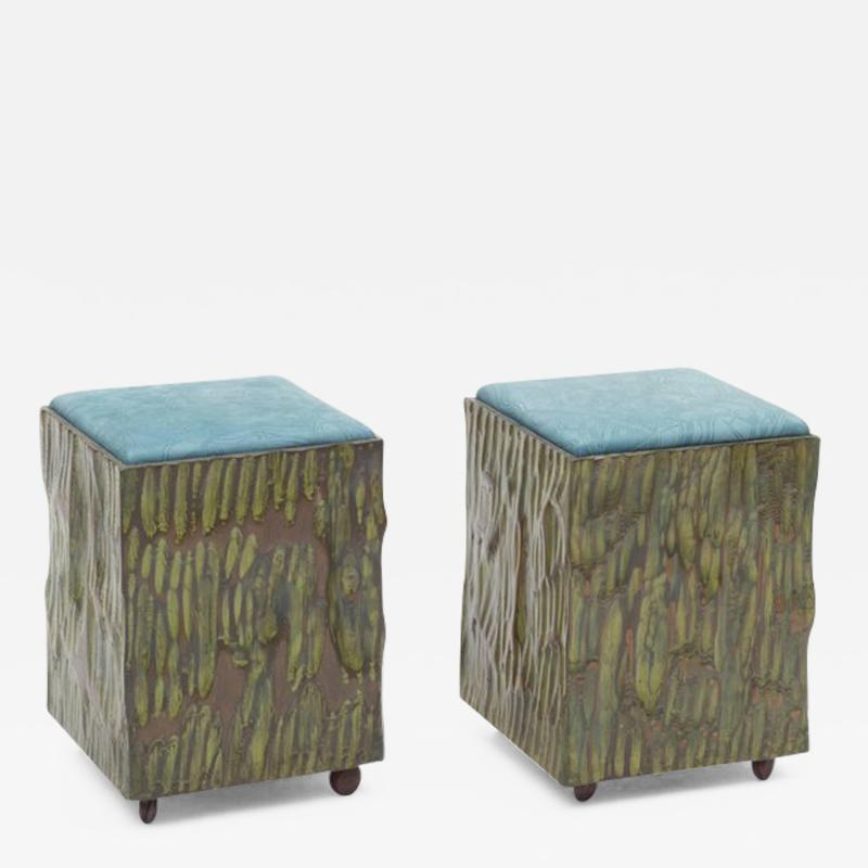 Phillip Lloyd Powell Phillip Lloyd Powell Painted Hand Carved Stools with Abstract Patterned Textile
