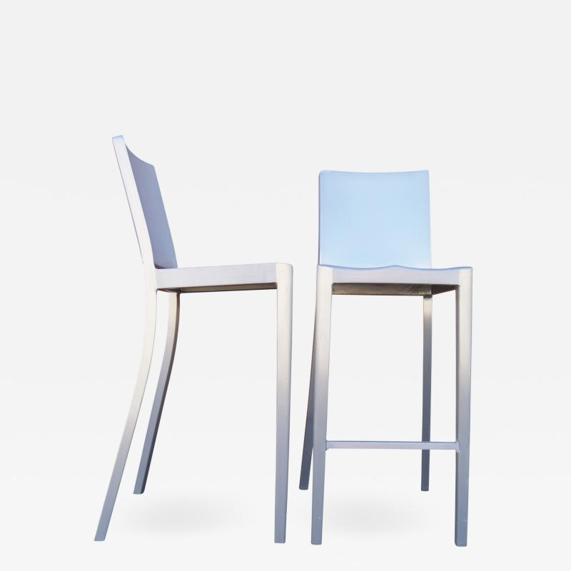 Phillipe Starck Pair of Brushed Aluminum Hudson Barstools by Philippe Starck for Emeco