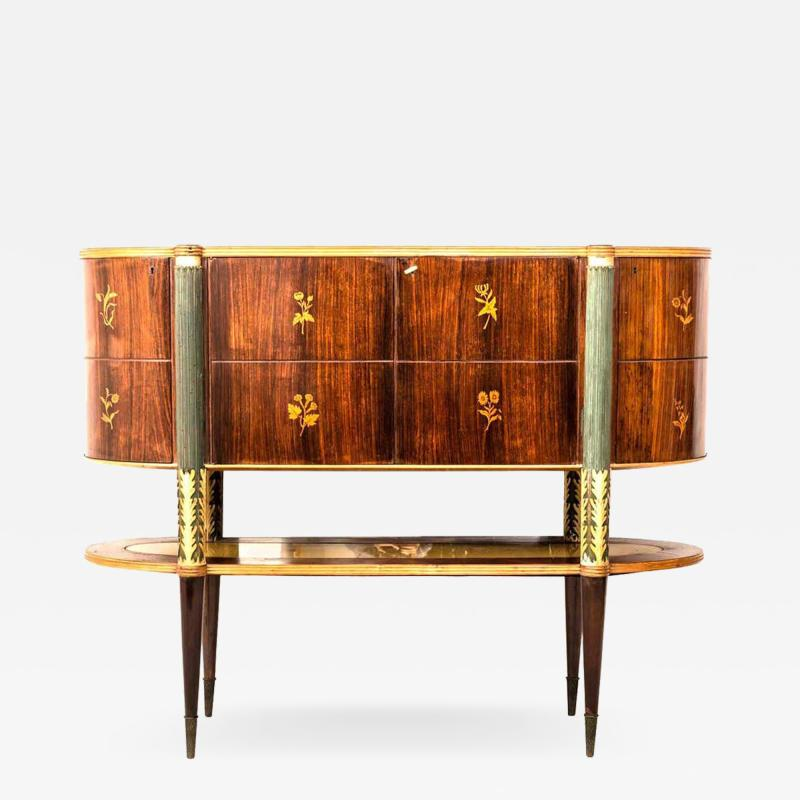 Pier Luigi Colli Italian Midcentury Oval Shaped Rare Bar Cabinet or Sideboard by Pierluigi Colli