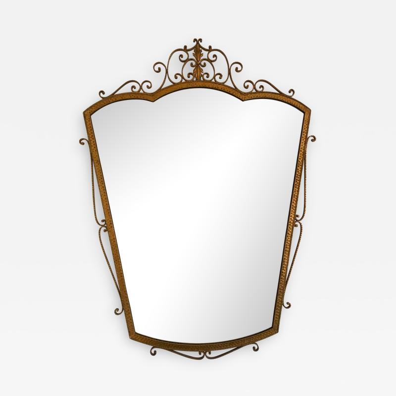 Pier Luigi Colli Mirror Wrought Iron Gold Leaf by Pier Luigi Colli Italy 1950s