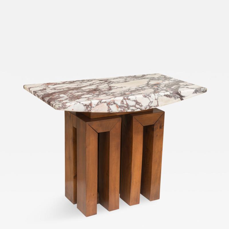 Pierluigi Spadolini Marble and Walnut Table