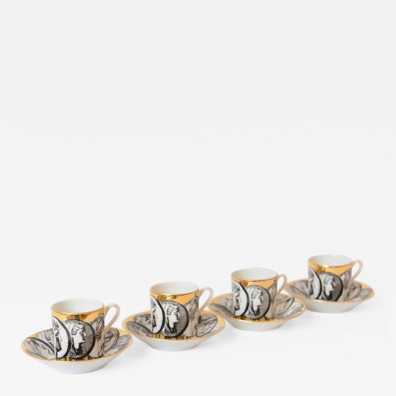 Piero Fornasetti 1950s Piero Fornasetti Cammei Espresso Cups and Saucers