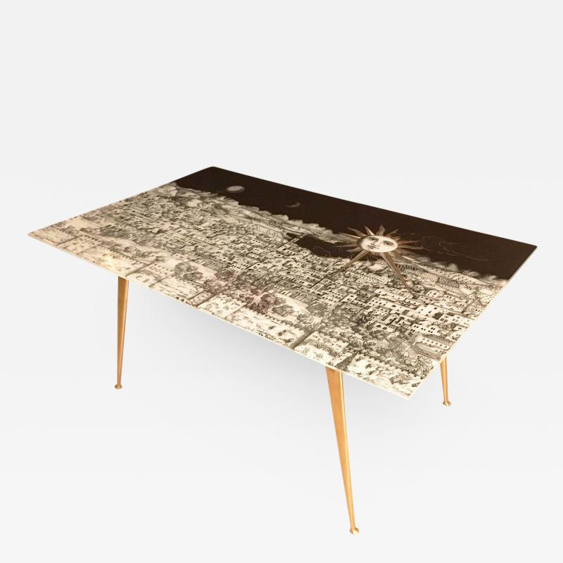 Piero Fornasetti Fornasetti Glass and Brass Coffee Table