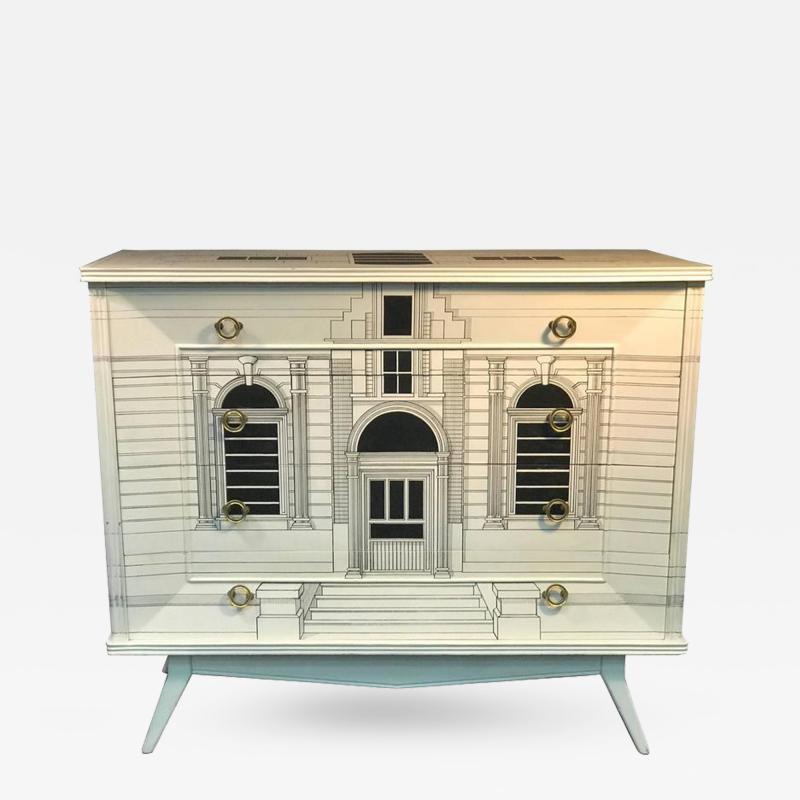 Piero Fornasetti Magnificent Italian Building Design Dresser in the Manner of Piero Fornasetti