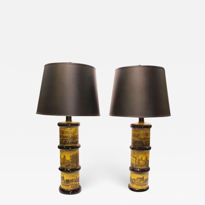 Piero Fornasetti Pair of Fornasetti Style Table Lamps