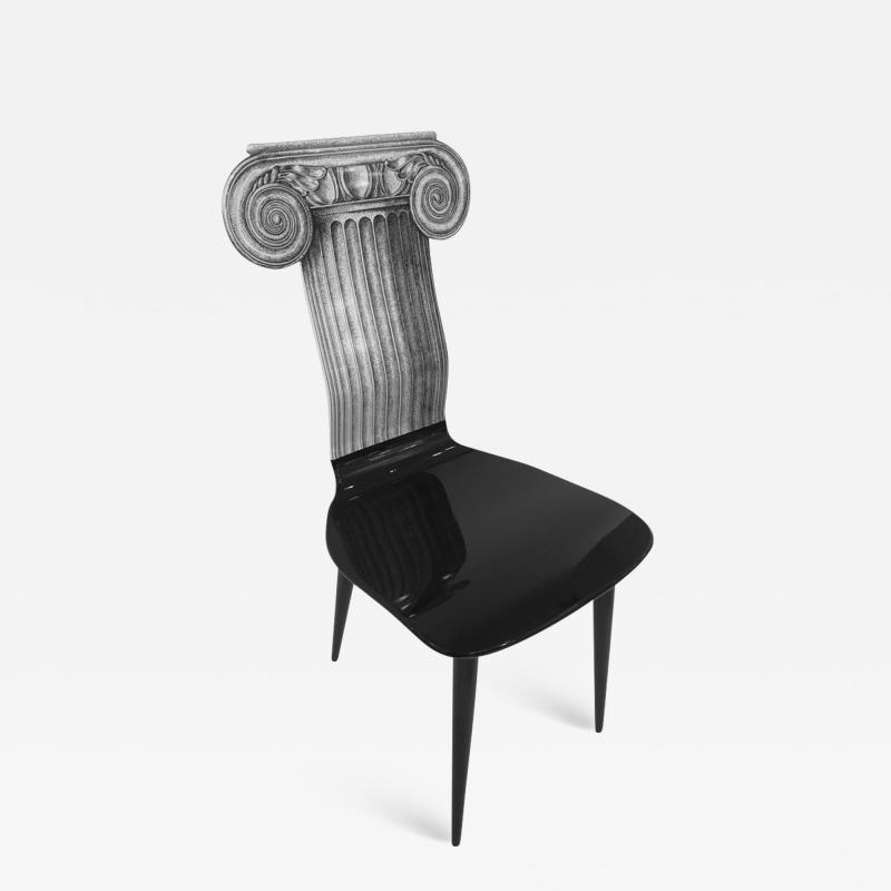 Piero Fornasetti Piero Fornasetti Capitello Ionico Chair in Black and White Italy circa 2006