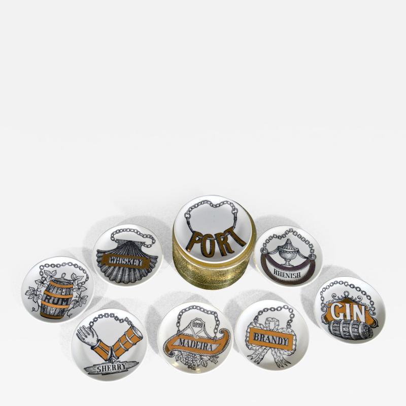 Piero Fornasetti Piero Fornasetti Set of Eight Vini E Liquori Barware Coasters with Original Box