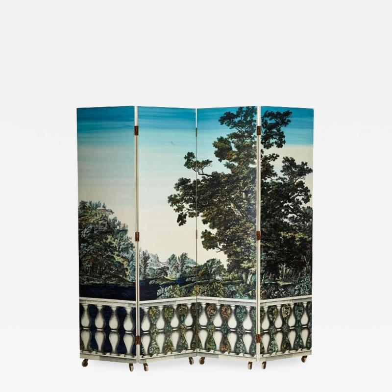 Piero Fornasetti Screen with two sides by Piero Fornasetti circa 1950