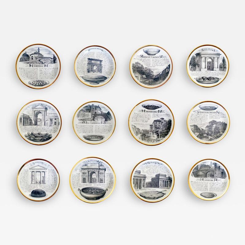 Piero Fornasetti Set of Twelve Recipe Plates Specialit Milanese Pattern