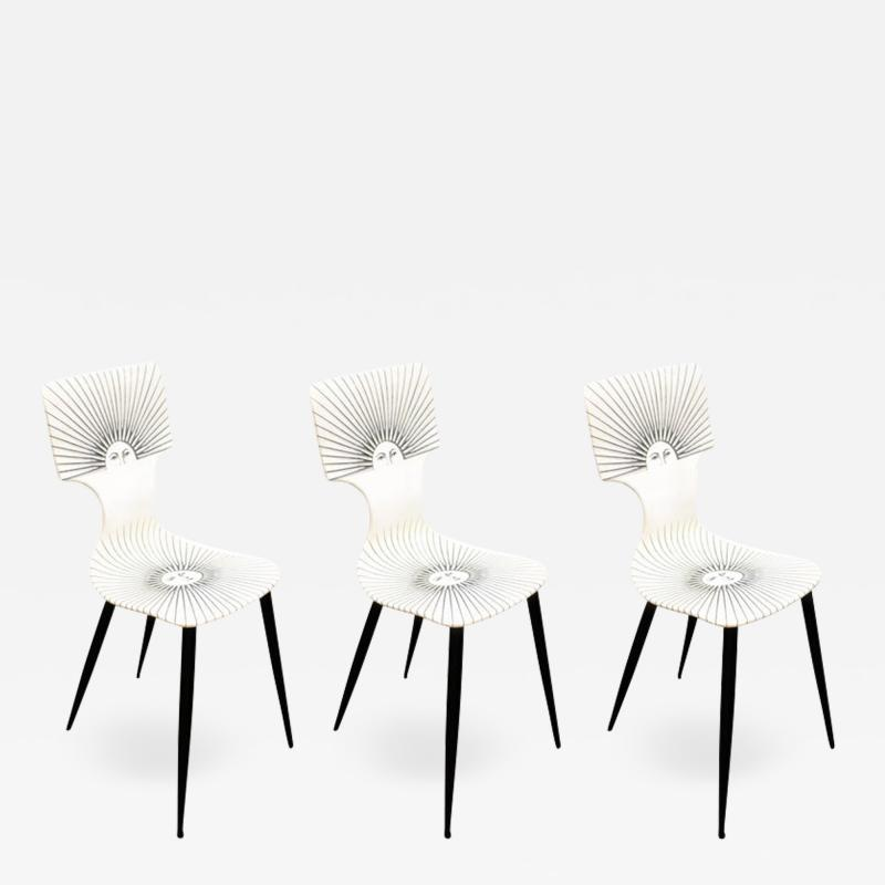 Piero Fornasetti Three Sole Dining Side Chairs by Piero Fornasetti