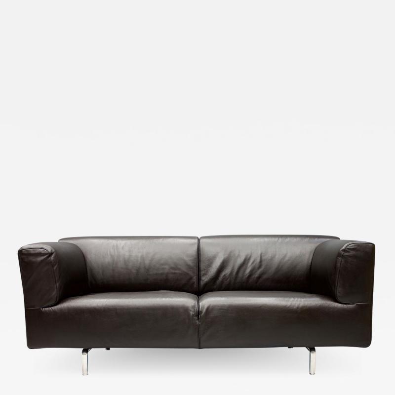 Piero Lissoni Dark Blue Leather Sofa 250MET by Piero Lissoni for Cassina 1988