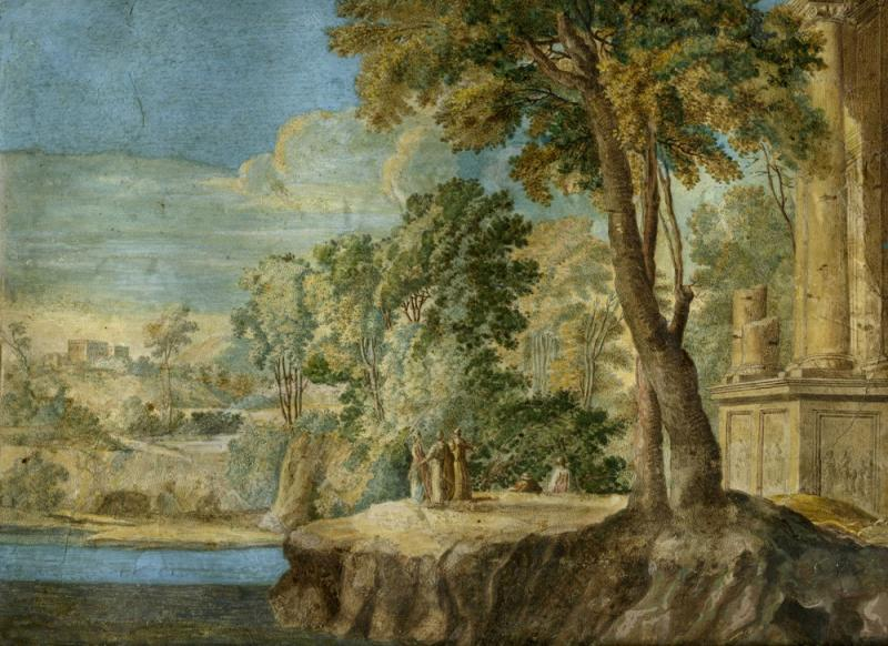 Pierre Antoine Patel An Arcadian Landscape with Figures by Classical Ruins