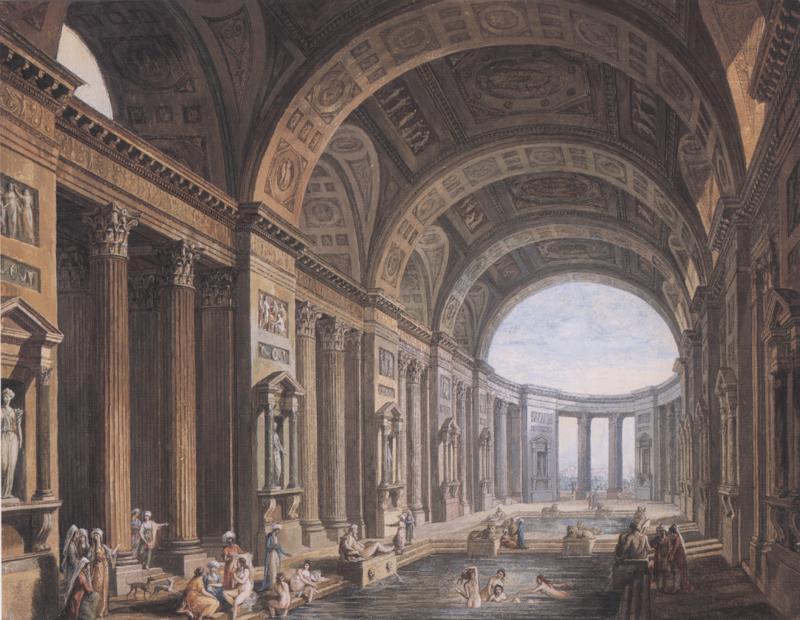 Pierre Antoine de Machy Vaulted Classical Interior with Figures Bathing