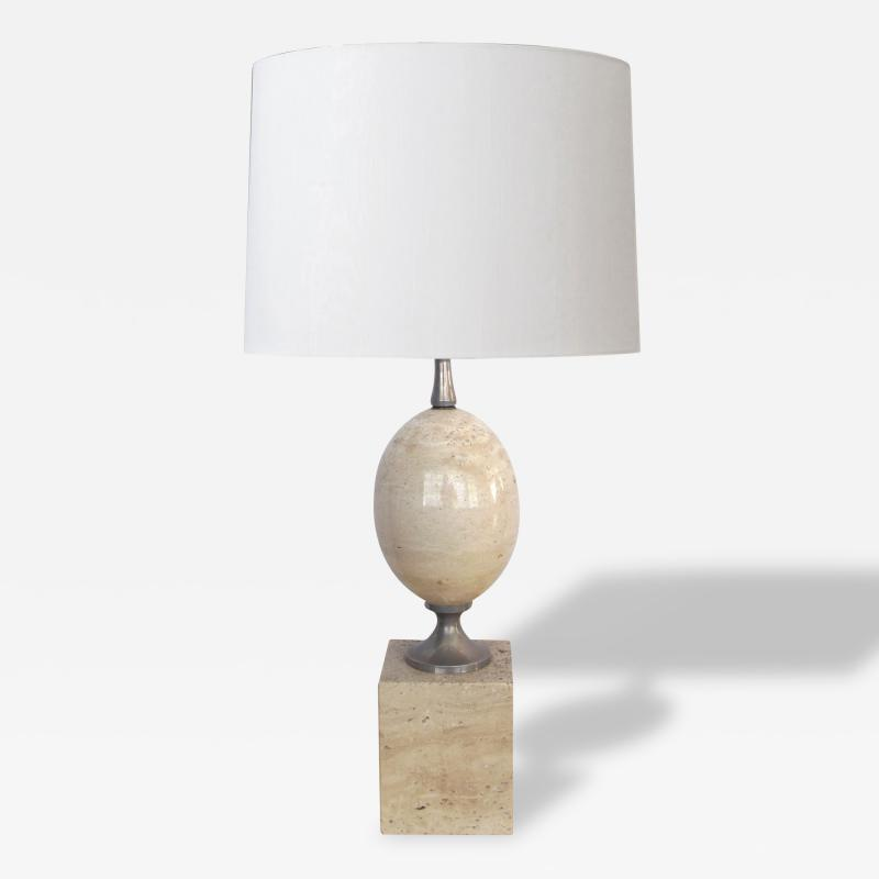 Pierre Barbier A Good French Pierre Barbier Polished Travertine and Chrome Lamp