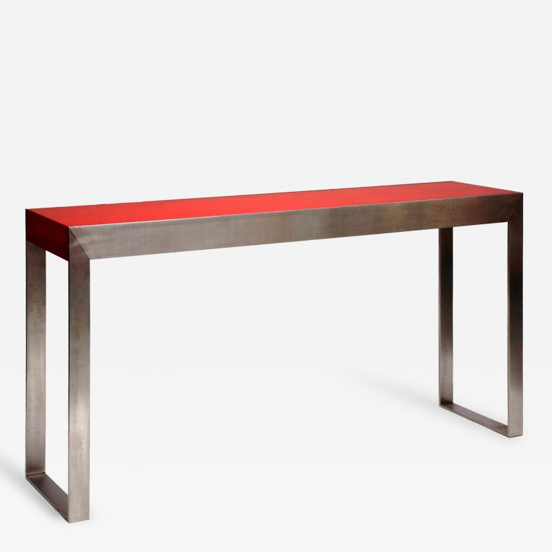 Pierre Bonnefille Lacquer and Steel Console by Pierre Bonnefille