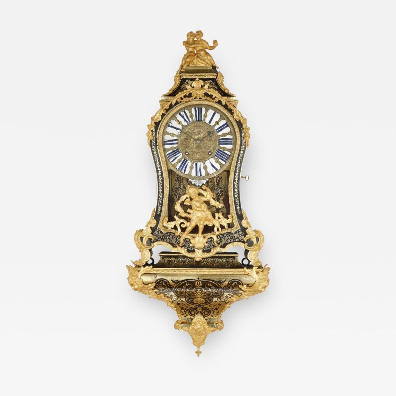 Pierre Brezagez Antique 18th Century Boulle Bracket Clock by Brezagez and Marchand