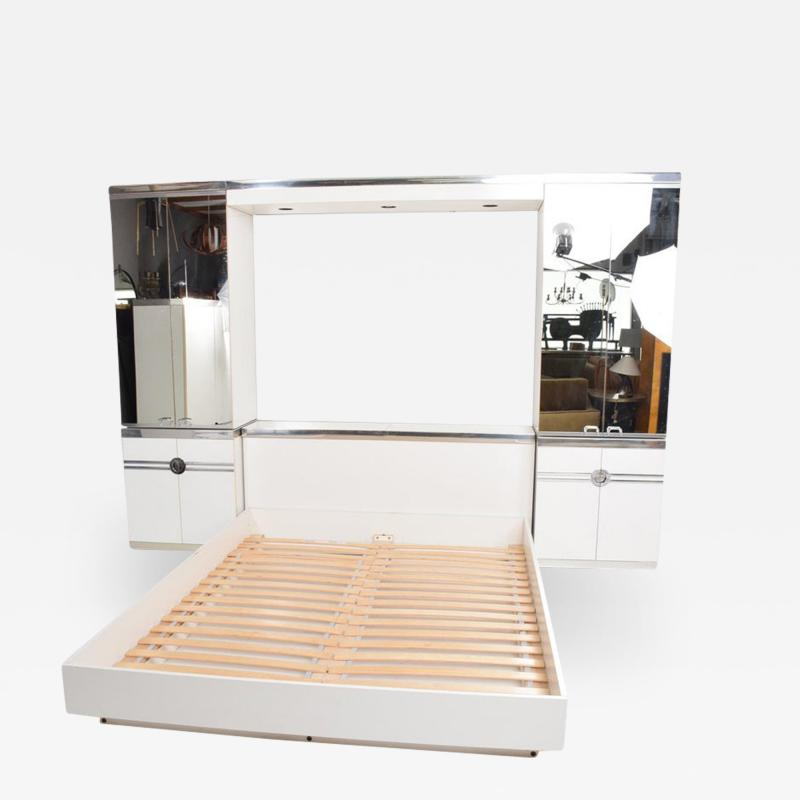 Pierre Cardin 1970s late designer PIERRE CARDIN Mirrored Bedroom Set Ensemble White Chrome