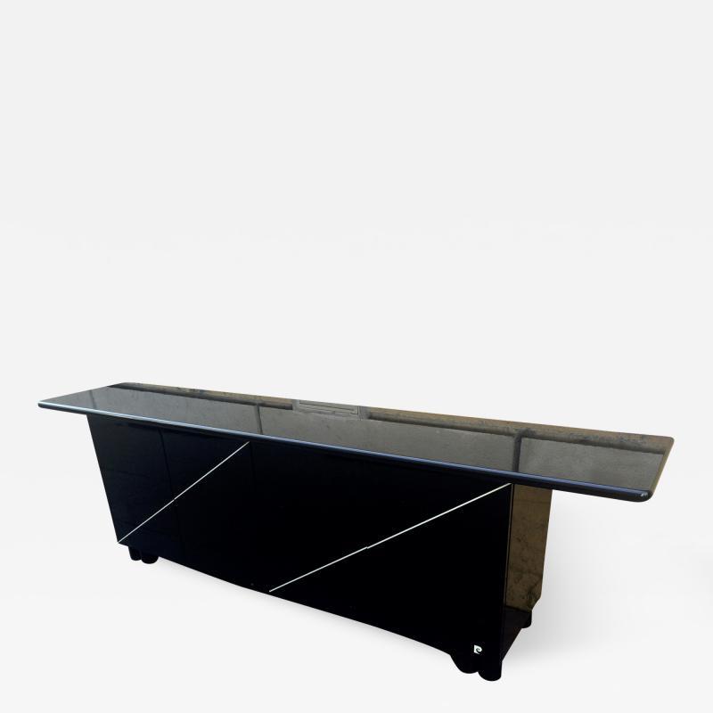 Pierre Cardin Pierre Cardin Signed Black Lacquered 3 Door Cabinet