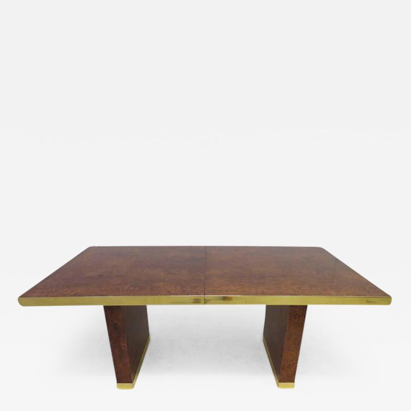Pierre Cardin Spectacular Pierre Cardin Burled and Brass Dining Table Mid Century Modern
