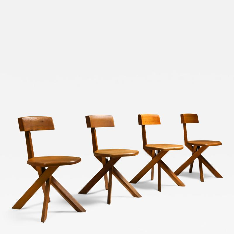 Pierre Chapo Chapo S34 Dining Chairs in Solid Elm 1960s