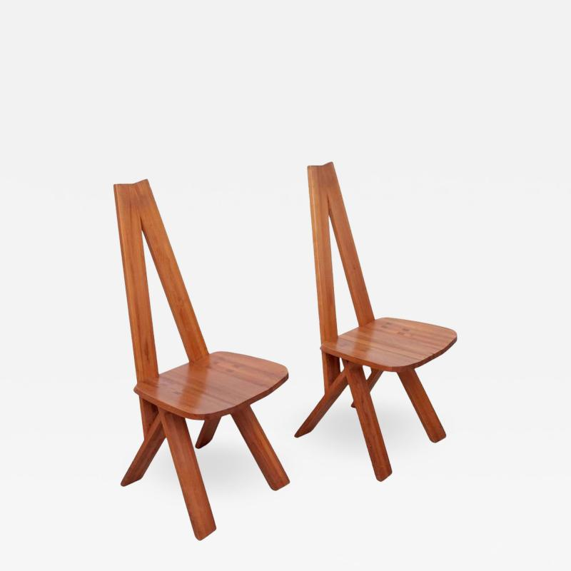 Pierre Chapo One Pair of Two Pierre Chapo S45 Chairs in Solid Elm