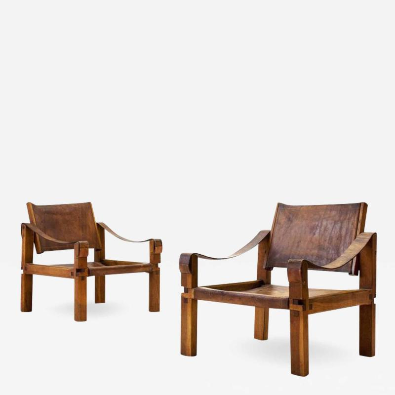 Pierre Chapo Pair of Pierre Chapo S10 Easy Chairs in Cognac Leather and Oak France 1960s