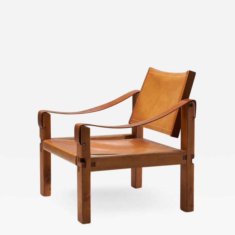 Pierre Chapo Pierre Chapo S10 Cognac Leather Easy Chair France 1960s