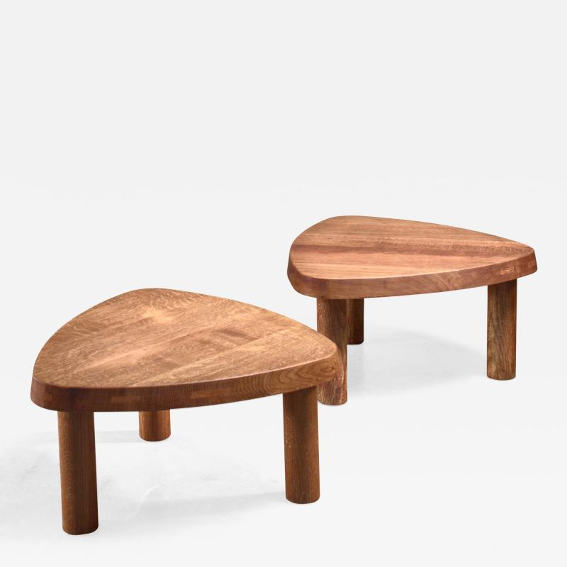 Pierre Chapo Pierre Chapo pair of small triangular coffee tables