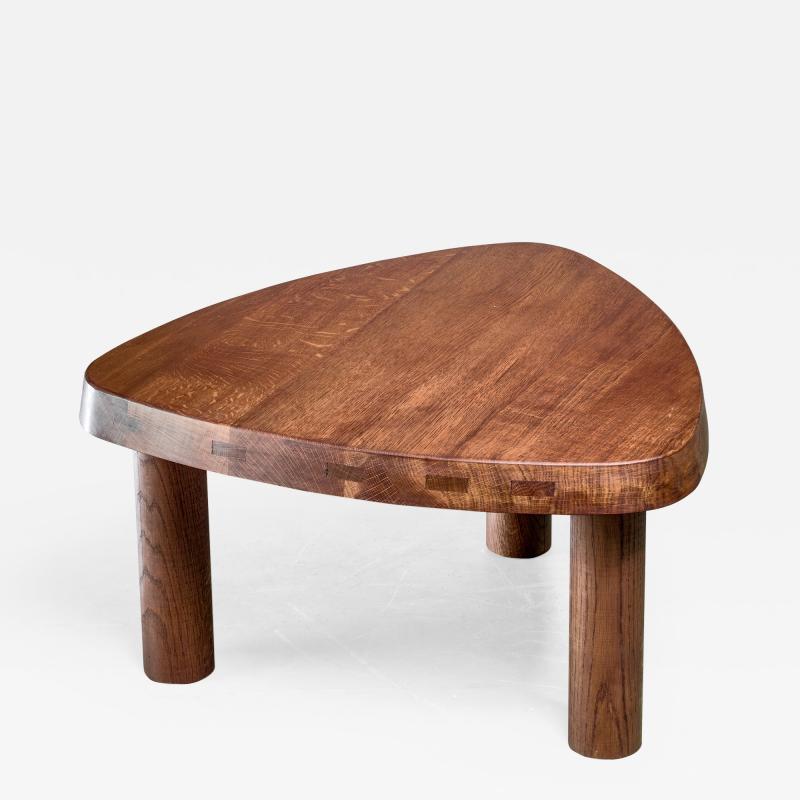 Pierre Chapo Pierre Chapo small triangular coffee table in oak France 1960s
