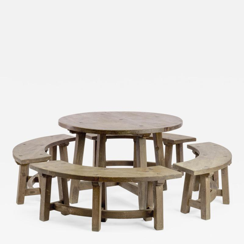 Pierre Chapo Pierre Chapo style brutalist organic complete dinning set with round benches