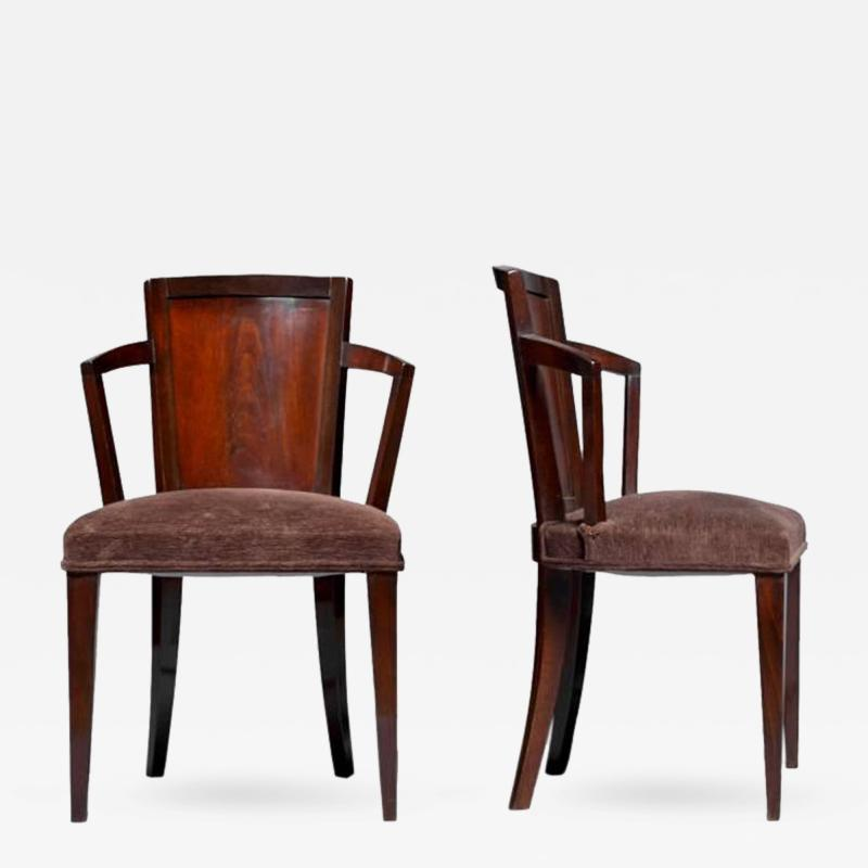 Pierre Chareau Pair of Fine French Art Deco Chairs by Pierre Chareau